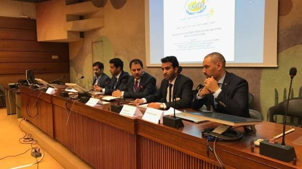 One of the members of the al-Ghufran branch of Al-Marri tribe speaks during a panel urging UN attention to his family's case in Geneva. (Supplied)
