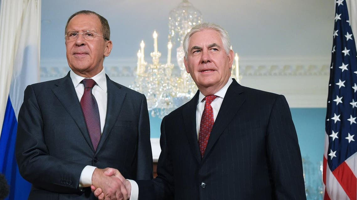 US Secretary of State Rex Tillerson shakes hands with Russian Foreign Minister Sergei Lavrov in the Treaty Room of the State Department in Washington, DC on May 10, 2017. (AFP)