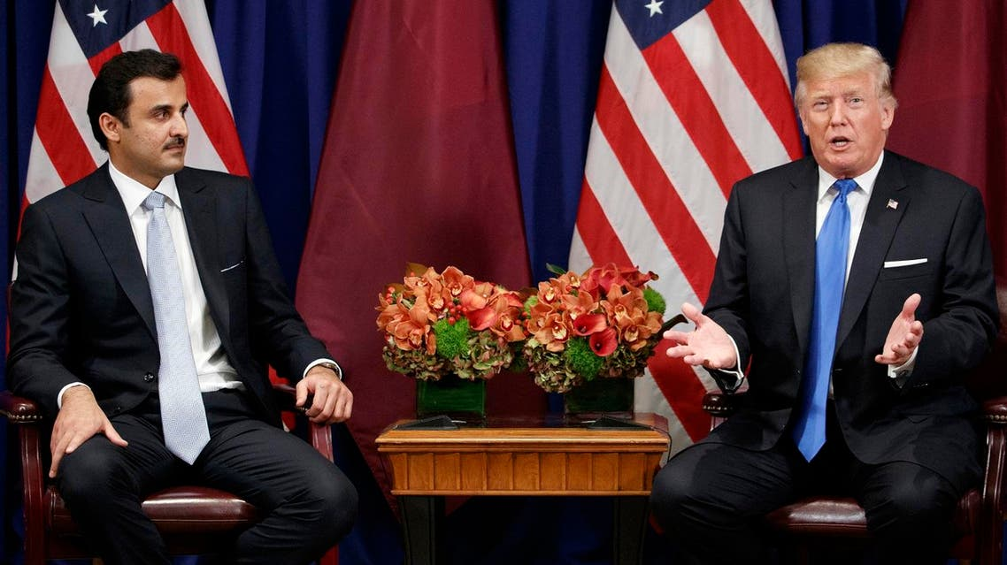 President Donald Trump speaks during a meeting with Qatar's Emir Sheikh Tamim Bin Hamad Al Thani at the Palace Hotel during the United Nations General Assembly, Tuesday, Sept. 19, 2017, in New York. (AP Photo/Evan Vucci)