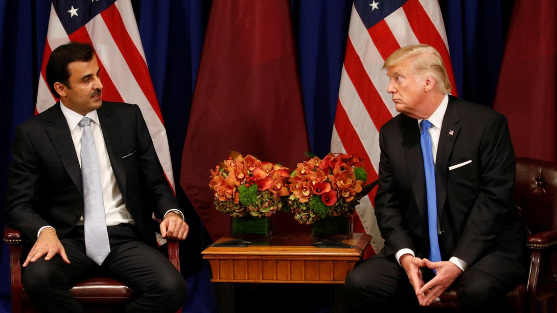 US President Donald Trump meets with Qatar's Emir Sheikh Tamim bin Hamad al-Thani in New York, U.S., September 19, 2017. (Reuters)