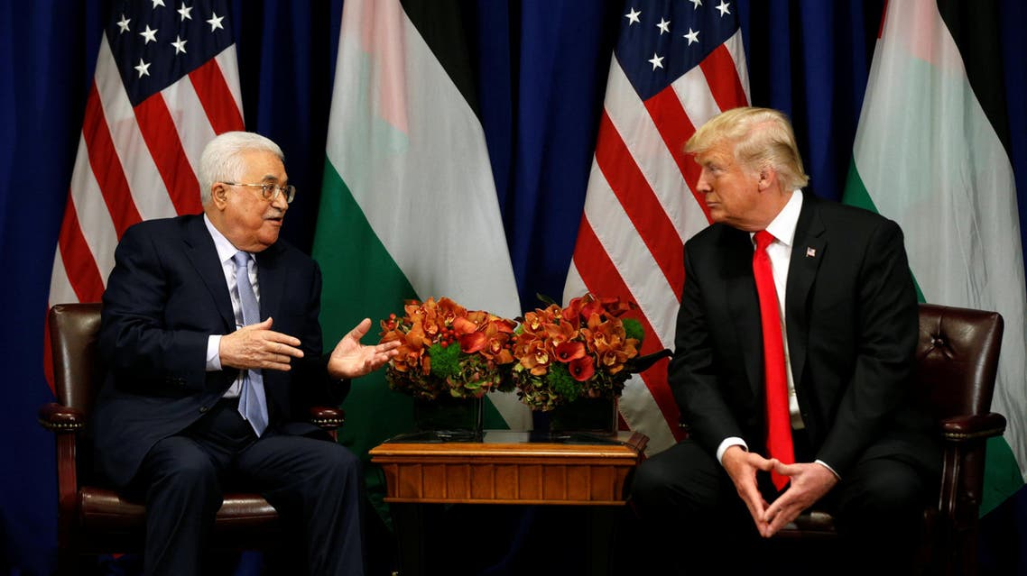 U.S. President Donald Trump meets with Palestinian President Mahmoud Abbas during the U.N. General Assembly in New York, U.S., September 20, 2017. REUTERS