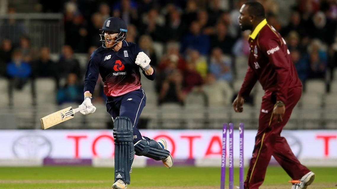 England's Jonny Bairstow celebrates win against West Indies in their first ODI Emirates Old Trafford, Manchester, on September 19, 2017. (Reuters)