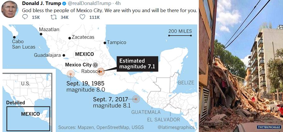 تغريدة ترمب الواعدة بالدعم والمساندة، وغرافيك لزلازل المكسيك الثلاثة وتواريخها ومراكزها
