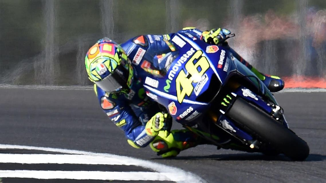 Movistar Yamaha MotoGP's Italian rider Valentino Rossi leads during the MotoGP race of the British Grand Prix at Silverstone circuit in Northamptonshire, southern England, on August 27, 2017. (AFP)
