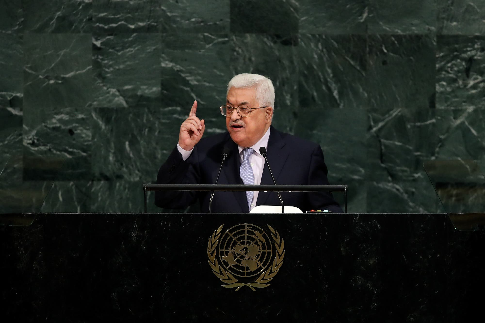 Mahmoud Abbas addresses the UN General Assembly at UN headquarters, September 20, 2017 in New York City. (AFP)