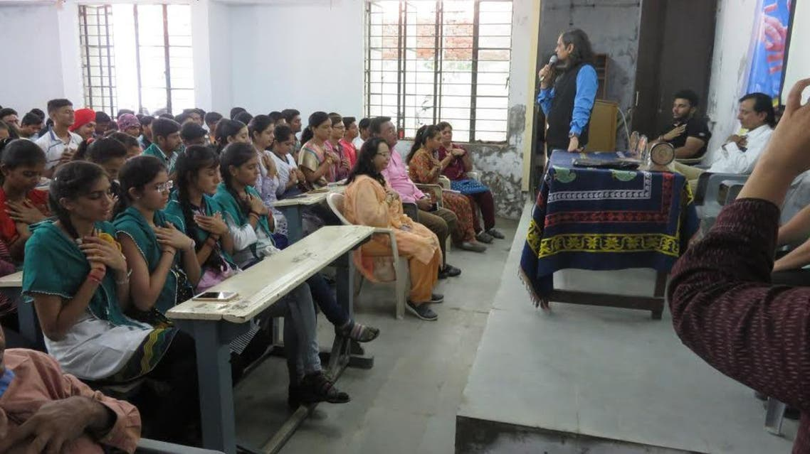 A suicide awareness program being conducted at Dr Ronak Gandhi's (addressing) Loving Centre for Transformation. (Supplied)