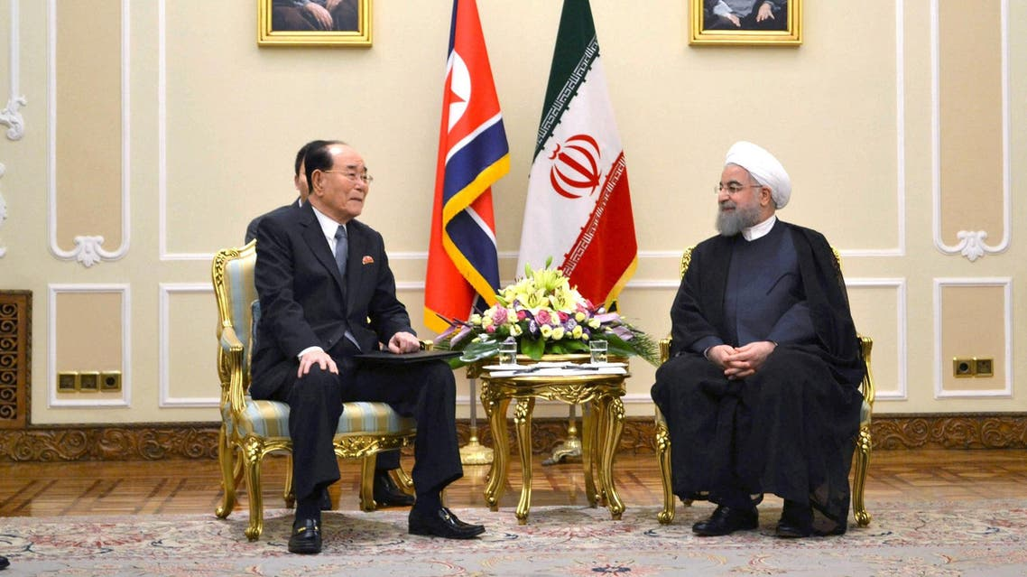 Kim Yong Nam, president of the DPRK Presidium of the Supreme People's Assembly with Hassan Rouhani in Teheran in this undated photo released by KCNA in Pyongyang on August 7, 2017. (Reuters)