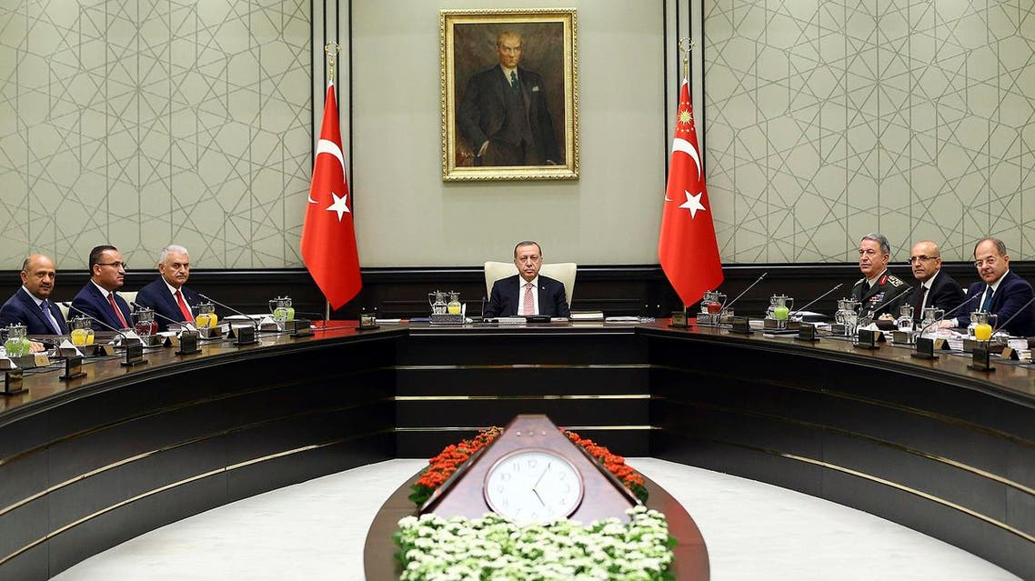 President Recep Tayyip Erdogan chairs the National Security Council in Ankara, on Friday, Sept. 22, 2017. (AP)