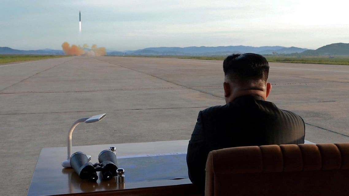 North Korean leader Kim Jong Un watches the launch of a Hwasong-12 missile in this undated photo released by North Korea's Korean Central News Agency (KCNA) on September 16, 2017. (Reuters)
