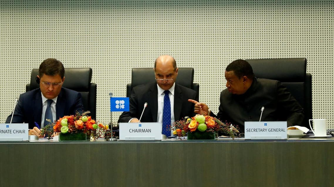 Russia's Energy Minister Alexander Novak, Kuwait's Oil Minister and OPEC conference president, Essam al-Marzouq, and OPEC Secretary General Mohammad Barkindo, attend a meeting of the Organization of the Petroleum Exporting Countries (OPEC) and non-OPEC producing countries in Vienna, Austria, on September 22, 2017. (Reuters)