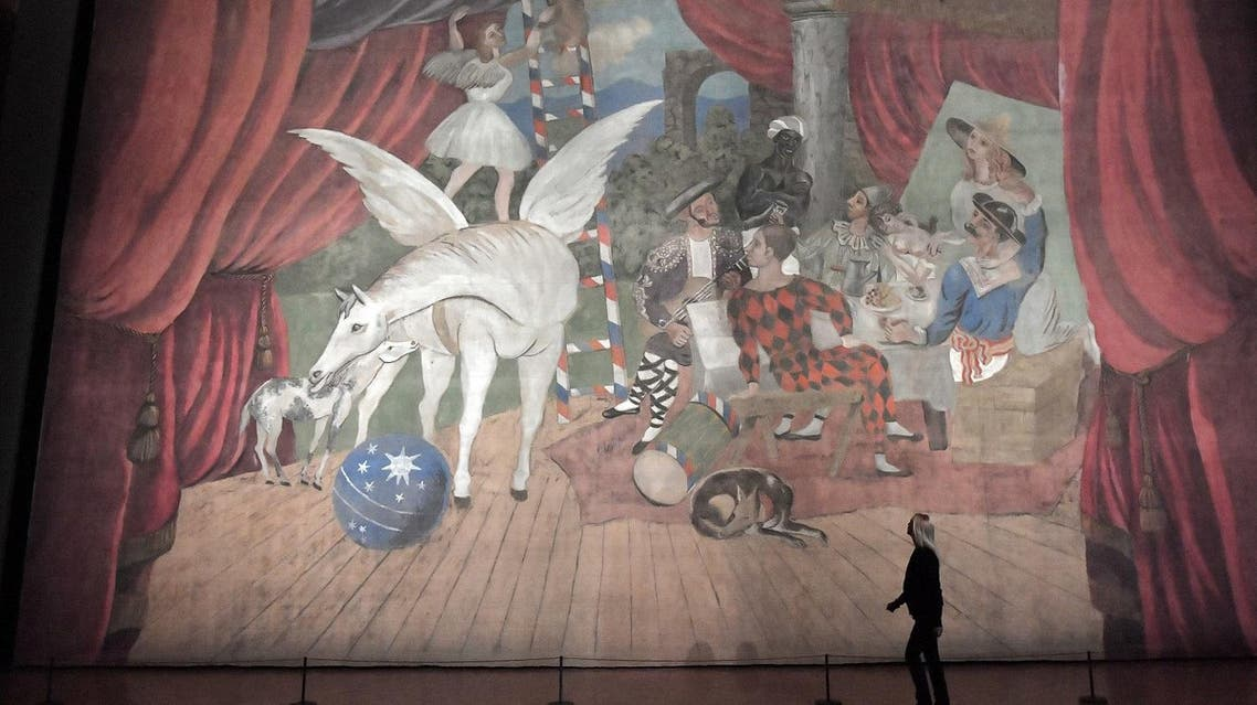 a monumental stage curtain for the ballet 'Parade', by Spanish artist Pablo Picasso (1881 - 1973) during the press preview of the exhibition 'Picasso - Parade il sipario' (Parade the Curtain) at the Palazzo Barberini in Rome on September 21, 2017. AFP