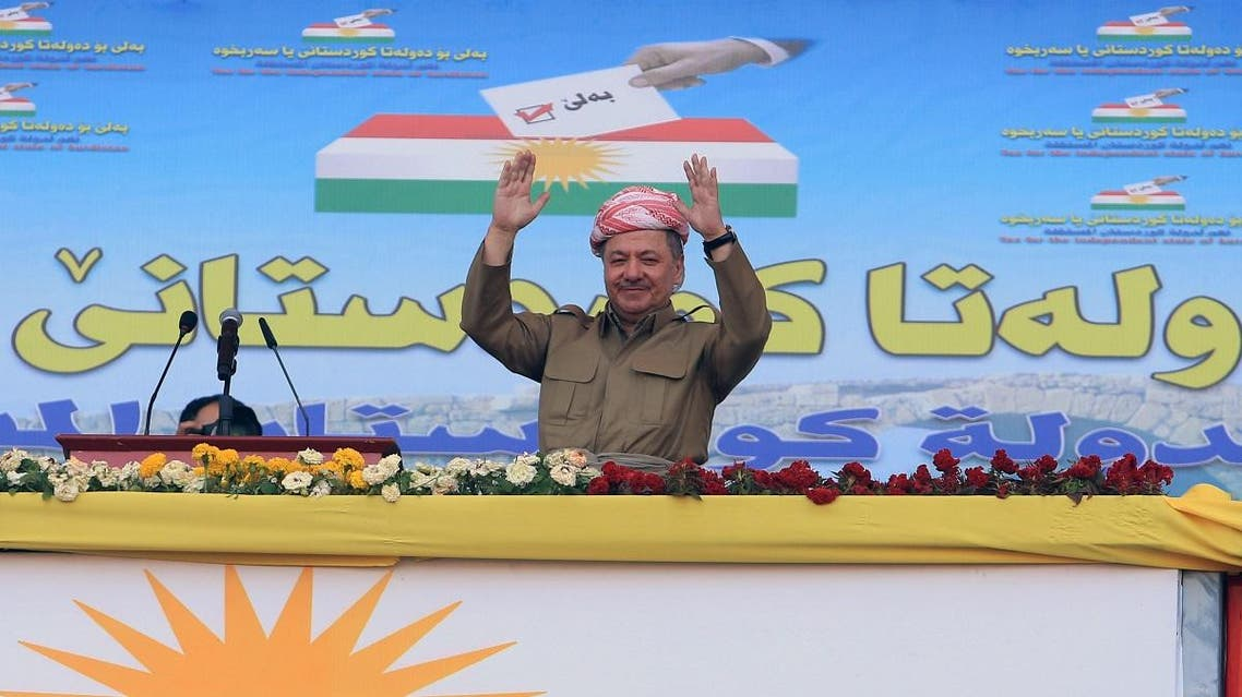 Iraqi Kurdish President Barzani attends rally in support for the upcoming September 25th independence referendum in Zakho. (Reuters)