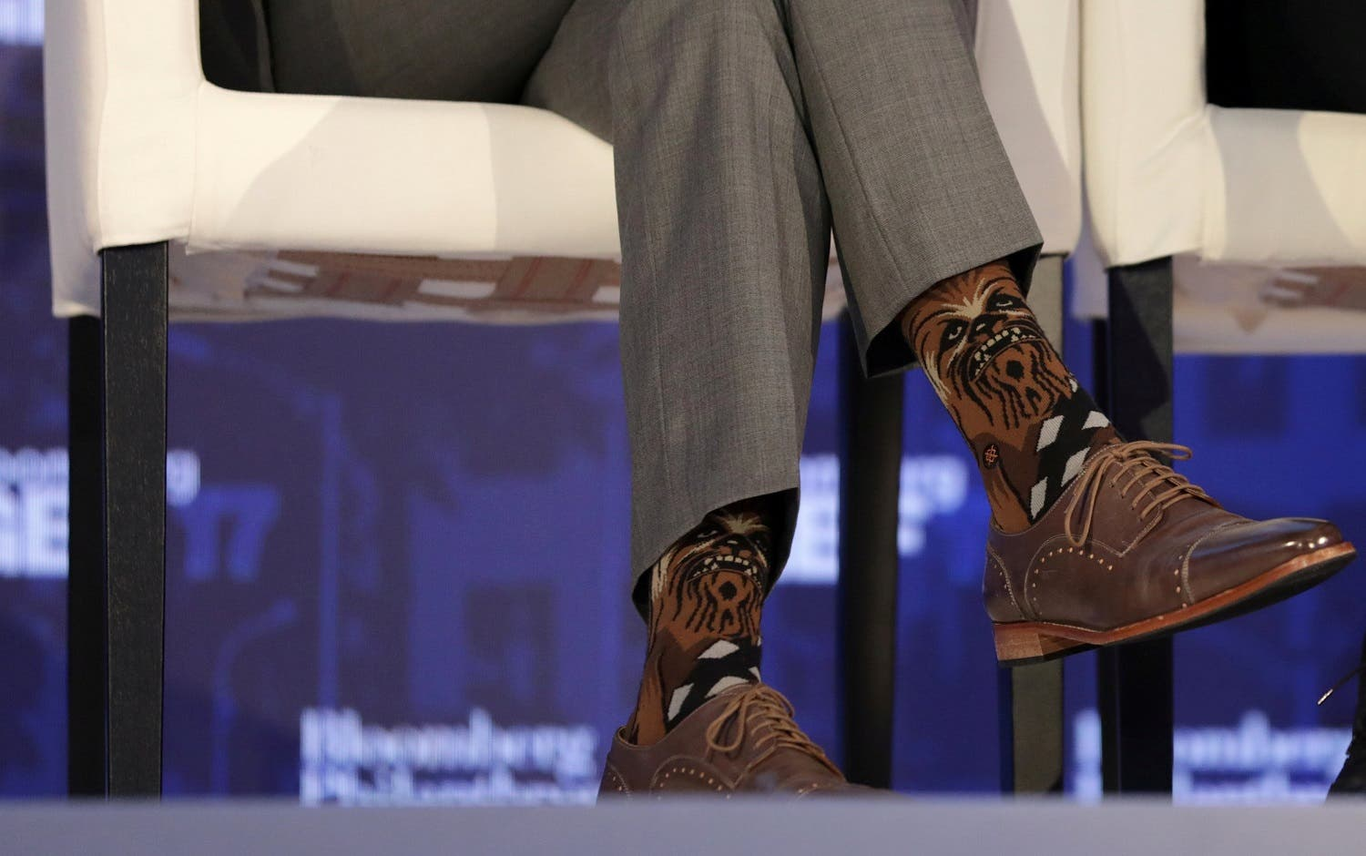 Justin Trudeau wears Chewbacca socks while participating in a panel discussion at a Bloomberg Global Business Forum panel event in New York, on September 20, 2017. (Reuters)