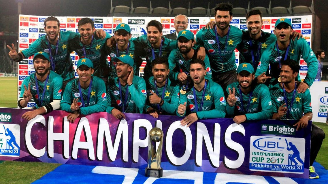 Pakistan's cricket team members celebrate winning the Independence Cup after defeating World XI team at Lahore, Pakistan, on  September 15, 2017. (Reuters)