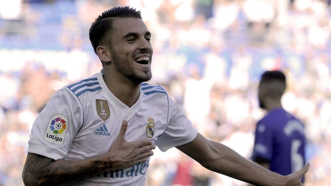 Real Madrid's midfielder from Spain Daniel Ceballos celebrates after scoring his team's secondd goal during the Spanish league football match Deportivo Alaves vs Real Madrid CF at the Mendizorroza stadium in Vitoria on September 23, 2017. (AFP)