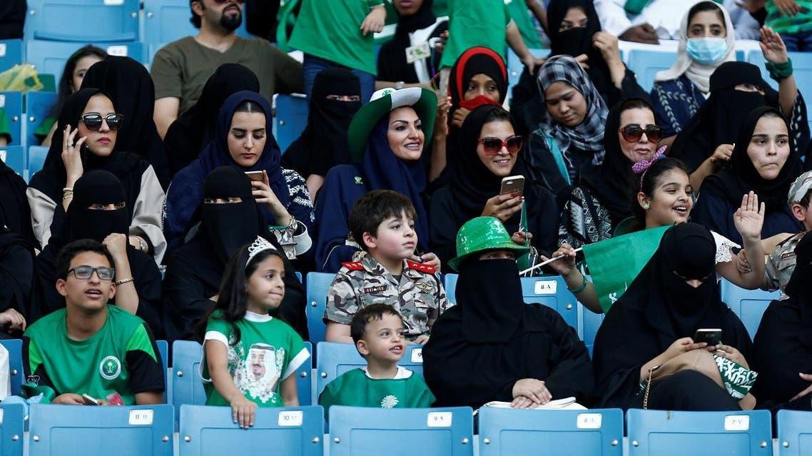Saudi Arabia women attend a rally to celebrate the 87th annual National Day of Saudi Arabia in Riyadh. (Reuters)