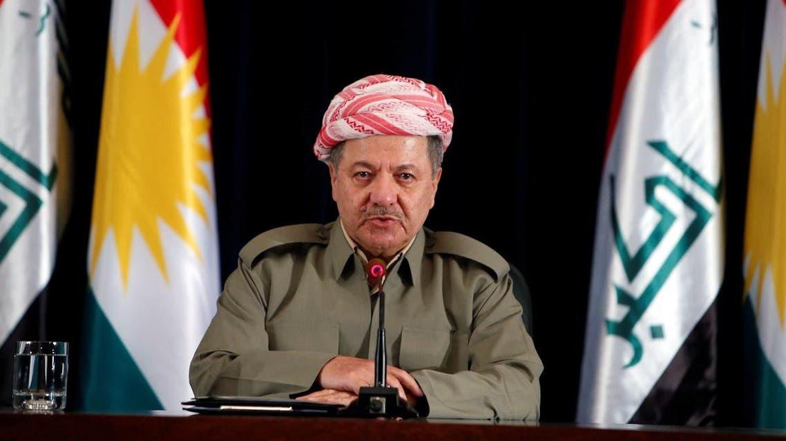 Iraqi Kurdish president Barzani speaks during a news conference in Erbil. (Reuters)