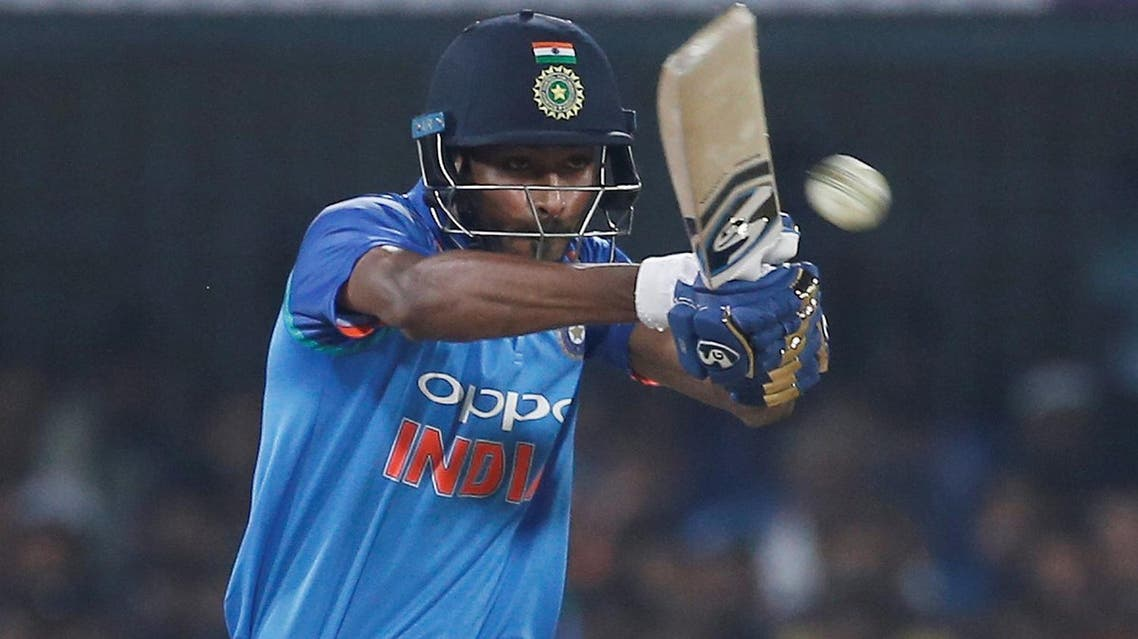 Hardik Pandya plays a shot against Australia in the third One Day International match in Indore, India . (Reuters)