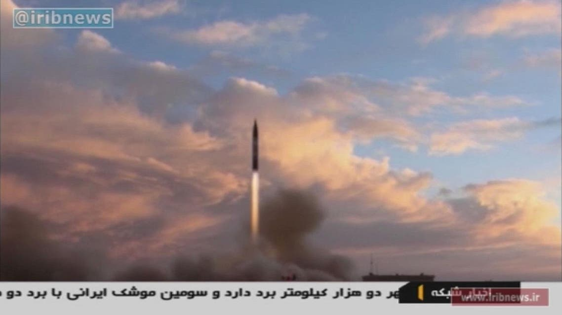 A TV grab taken on September 23, 2017 from the Iranian Republic Islamic Broadcasting (IRIB) shows a Khoramshahr missile being launched from an undisclosed location, a day after the said missile was first displayed at a high-profile military parade in the capital Tehran. Iran said on September 23, 2017 that it had successfully tested the new medium-range missile in defiance of warnings from Washington that such activities were grounds for abandoning their landmark nuclear deal. Handout / IRIB TV / AFP