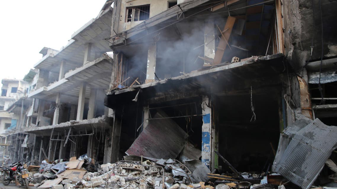 Destruction is seen following a reported Russian air strike in the district of Jisr al-Shughur, in the Idlib province, on September 25, 2017. Russian air strikes on northwest Syria's mainly jihadist-controlled province of Idlib killed at least 37 civilians including 12 children, a Britain-based monitor said. Mohamed al-Bakour / AFP