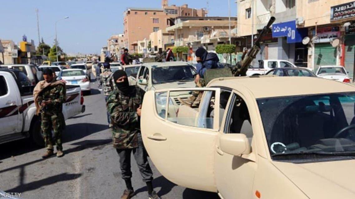سيارات مسلحة لكتيبة ثوار طرابلس في قصر بن غشير