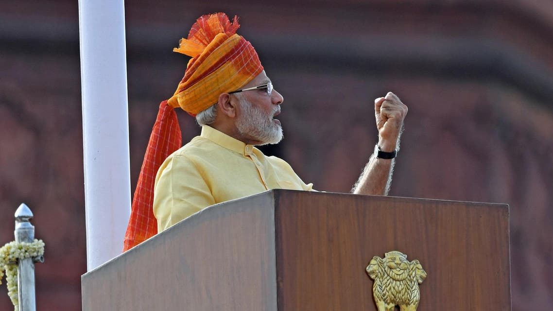 Indian Prime Minister Narendra Modi delivers his address during the country's 71st Independence Day celebrations, which marks the 70th anniversary of the end of British colonial rule. (AFP)