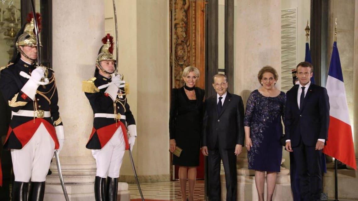 الرئيس الفرنسي وزوجته والرئيس اللبناني وزوجته