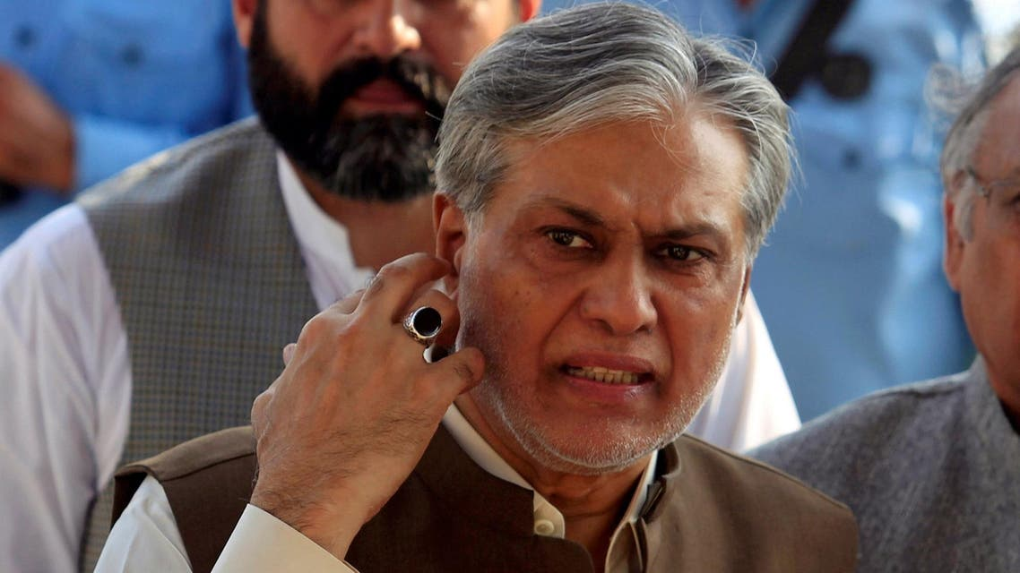 Ishaq Dar is seen after a party meeting in Islamabad on September 26, 2017. (Reuters)