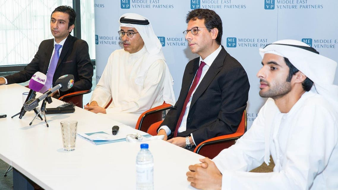 From left to right: Walid Mansour, Mohamed Alabbar, Walid Hanna and Rashid Alabbar at the MEVP fund launch.