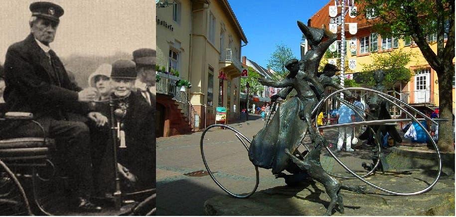 تمثال تكريمي لبارتا بنز في شارع بمدينة فيزلوخ، كانت فيه صيدلية توقفت عندها أثناء رحلتها واشترت منها مادة محفزة للوقود، وصورة في 1914 لها ولزوجها