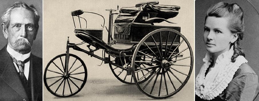 بيرتا والسيارة التي قادتها في 1888 مسافة 106 كيلومترات، وزوجها الراحل في 1929 بعمر 84 سنة