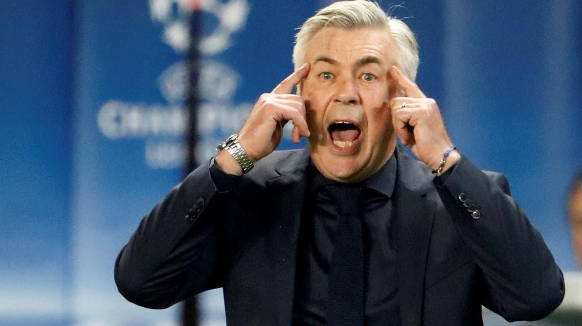 Bayern Munich coach Carlo Ancelotti reacts during the Champions League match against  Paris St Germain. (Reuters)