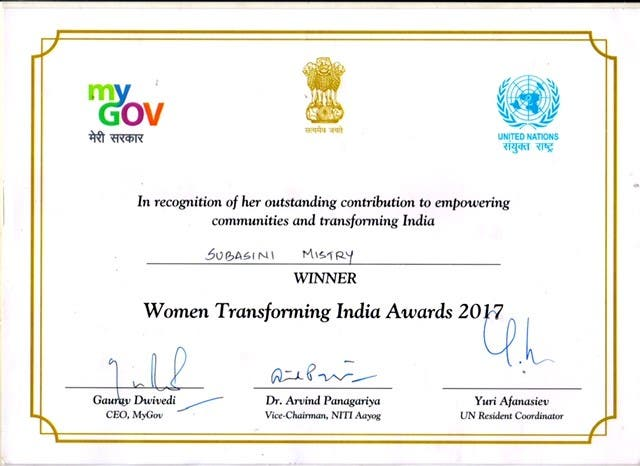The citation of Mistry's Women Transforming India Award 2017. (Supplied)