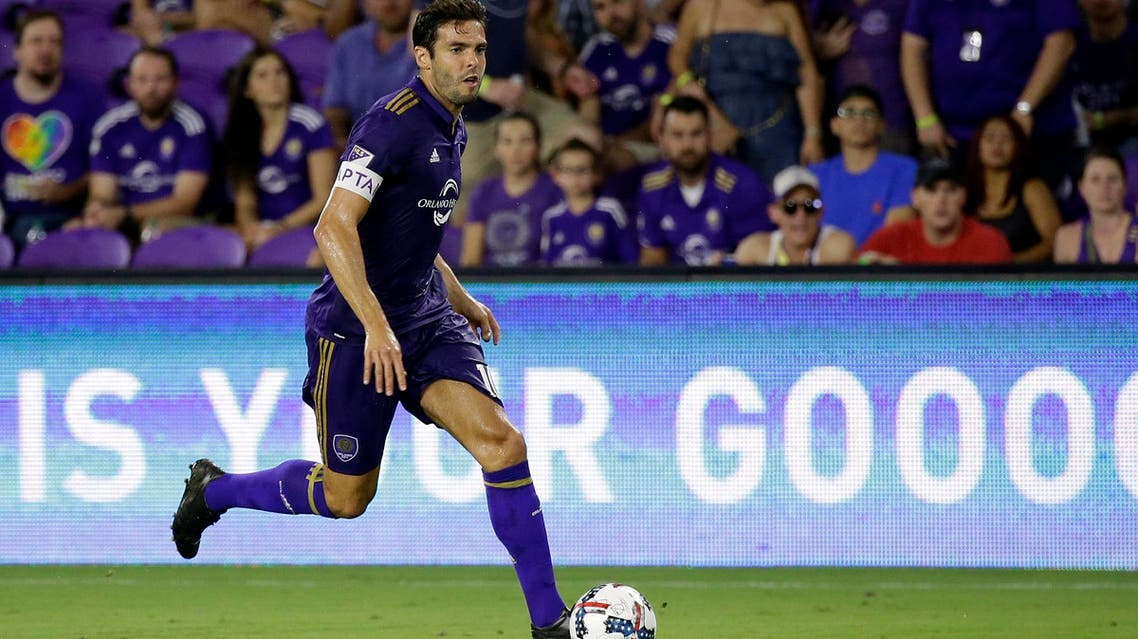 Orlando City's Kaka moves the ball against the Vancouver Whitecaps during the first half of an MLS soccer match, on Aug. 26, 2017, in Orlando, Fla. (AP)