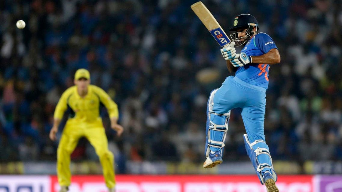 Indian cricket player Rohit Sharma bats during the fifth one-day international cricket match between India and Australia in Nagpur, India, on Oct. 1, 2017. (AP)