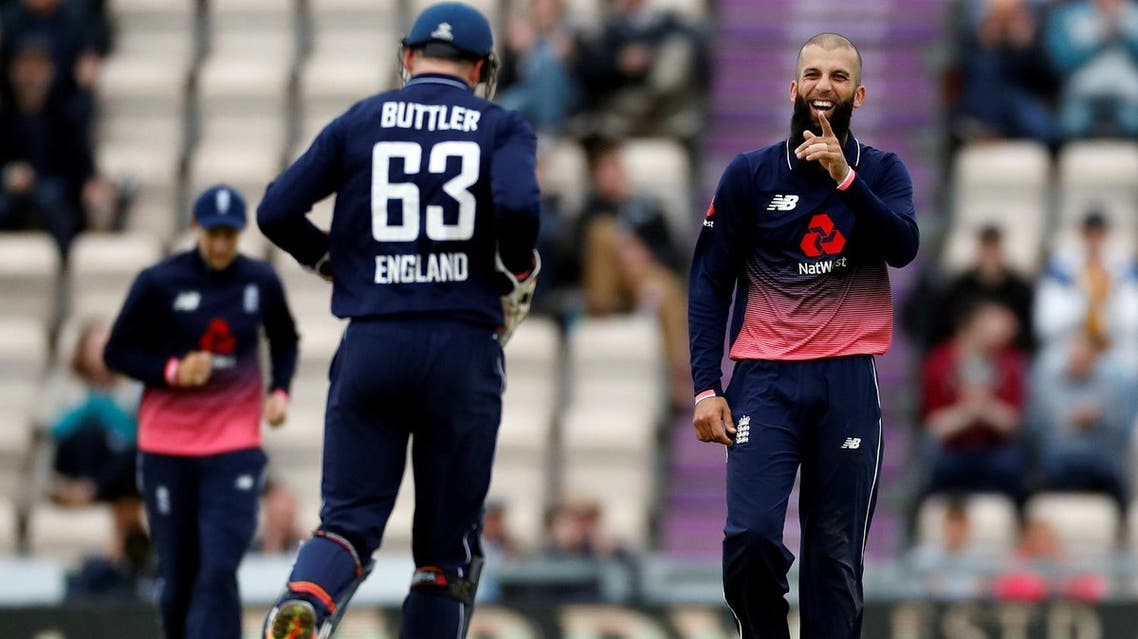 England's Moeen Ali celebrates taking the wicket of West Indies' Marlon Samuels during the fifth One Day International on September 29, 2017. (Reuters)