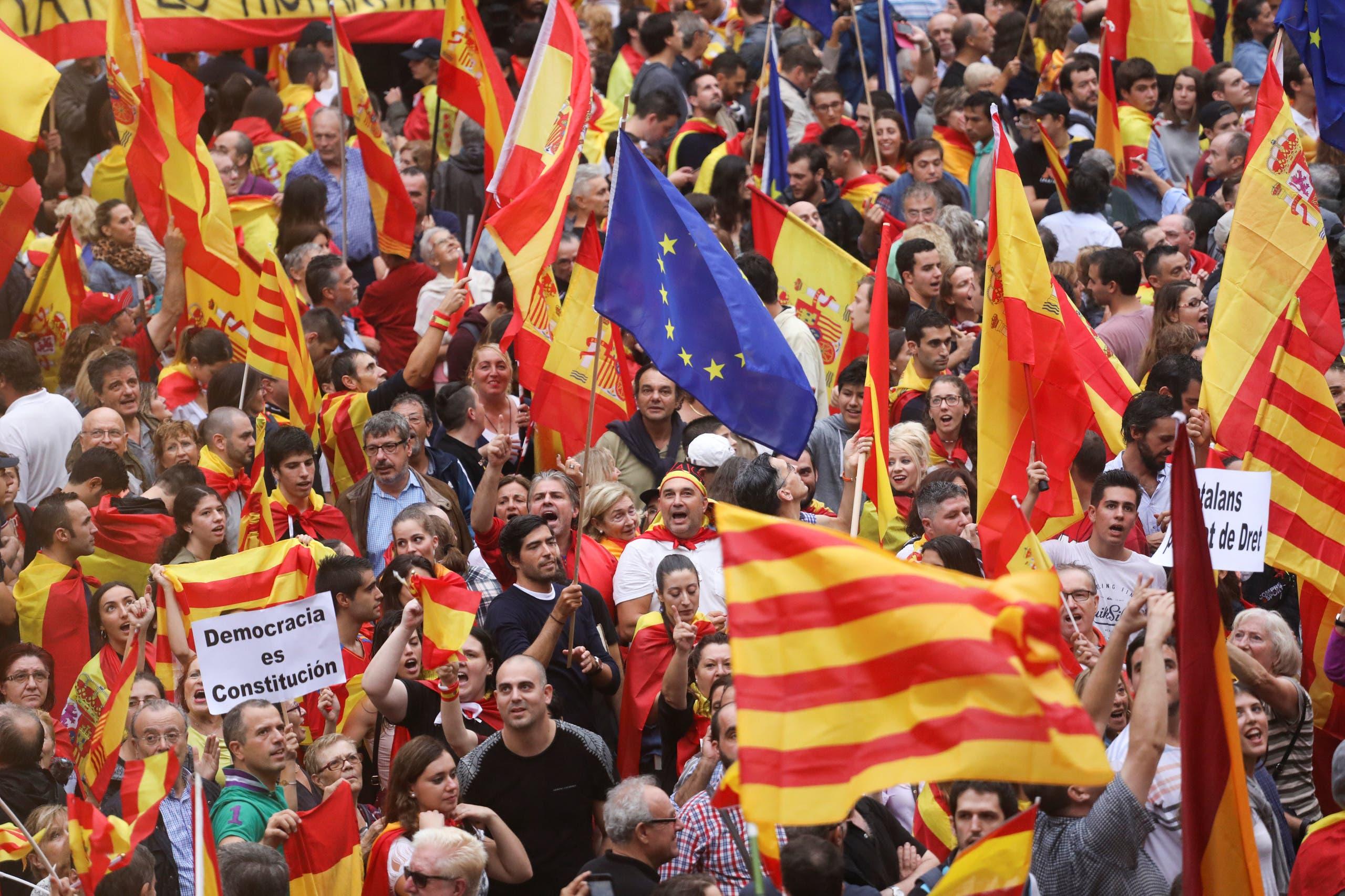 تظاهرات وحدت خواهان در بارسلونا