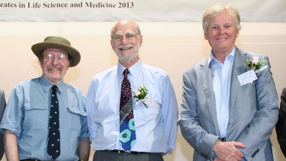 US geneticists (L-R) Jeffrey C. Hall, Michael Rosbash, and Michael W. Young during a lecture at Shaw College of the CUHK in Hong Kong. US geneticists Jeffrey C. Hall, Michael Rosbash and Michael W. Young were awarded the Nobel Medicine Prize on October 2, 2017 for shedding light on the internal biological clock that governs the wake-sleep cycles of most living things. (AFP)