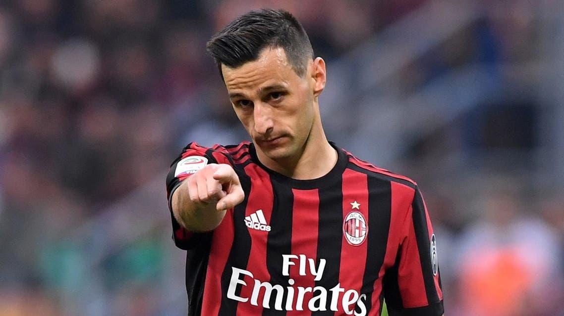 Soccer Football - Serie A - AC Milan vs AS Roma - San Siro, Milan, Italy - October 1, 2017 AC Milan's Nikola Kalinic gestures REUTERS/Alberto Lingria