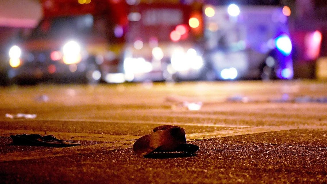 A cowboy hat lays in the street after shots were fired near a country music festival on October 1, 2017 in Las Vegas, Nevada. (AFP)