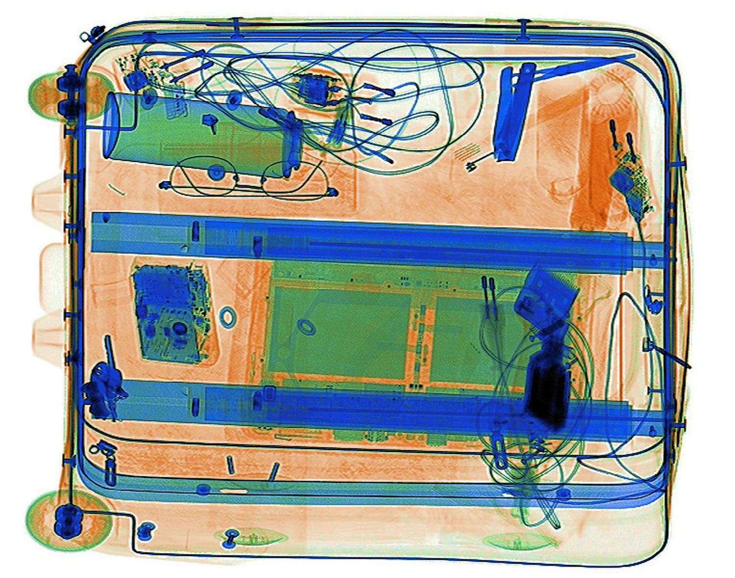An illustration picture shows a bag with electronics on the screen of an X-ray security scanner, April 7, 2017. (Reuters)