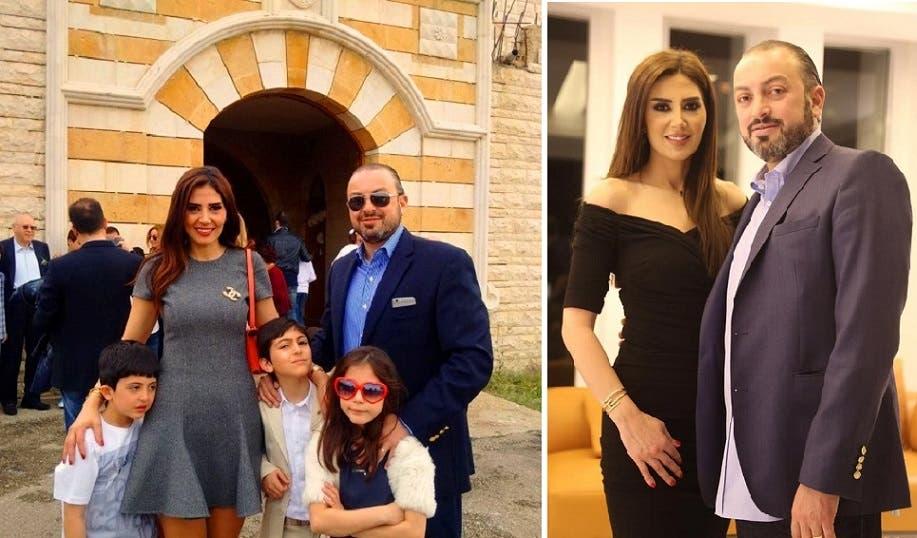 مع زوجها، وثانية معه ومع أبنائهما الثلاثة