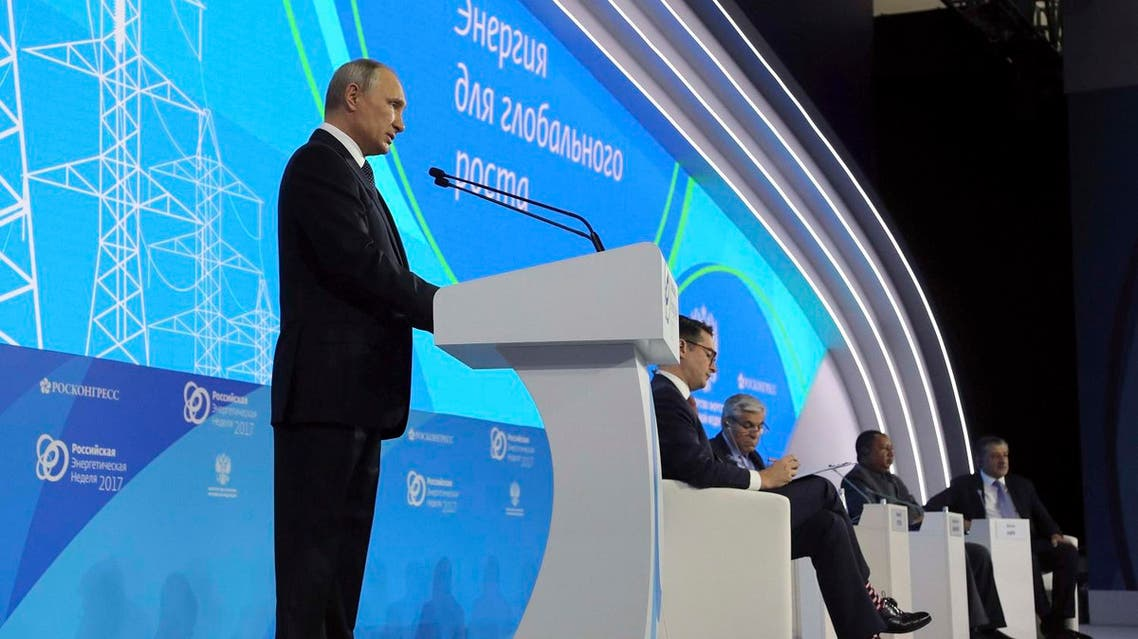 President Vladimir Putin delivers a speech at the Russian Energy Week 2017 forum in Moscow, on October 4, 2017. (Reuters)