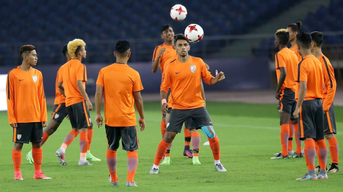 Indian soccer players train ahead of their FIFA U-17 World Cup match against the US in New Delhi, on Thursday, Oct. 5, 2017. (AP)