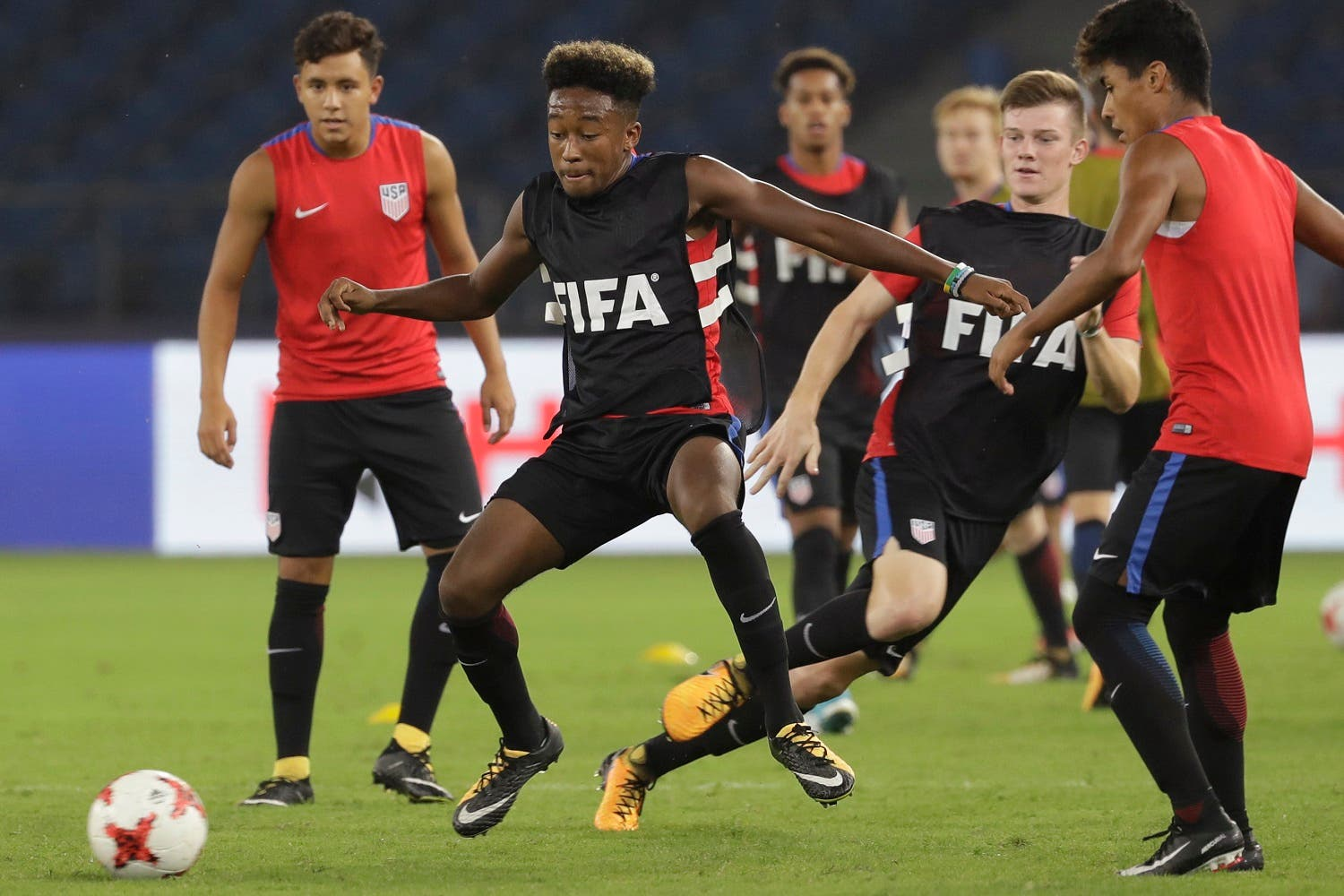 US soccer players train ahead of their FIFA U-17 World Cup match against India in New Delhi, on Thursday, Oct. 5, 2017. (AP)