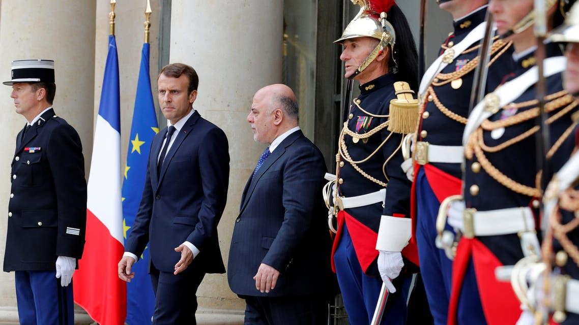 الرئيس الفرنسي مستقبلاً رئيس الوزراء العراقي