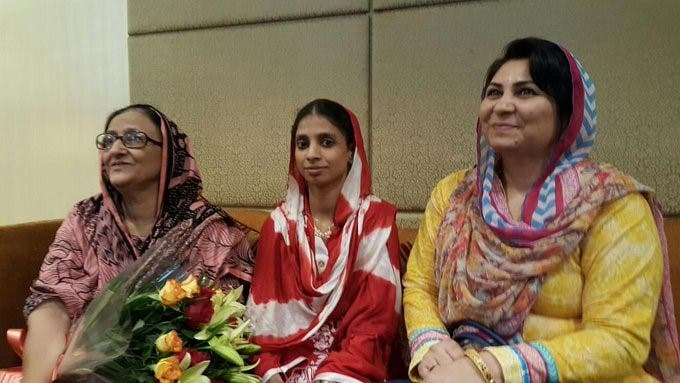 Geeta with Edhi Foundation's Bilquis Edhi (left) and another Pakistani charity official on her return to India in October 2015. (Supplied)