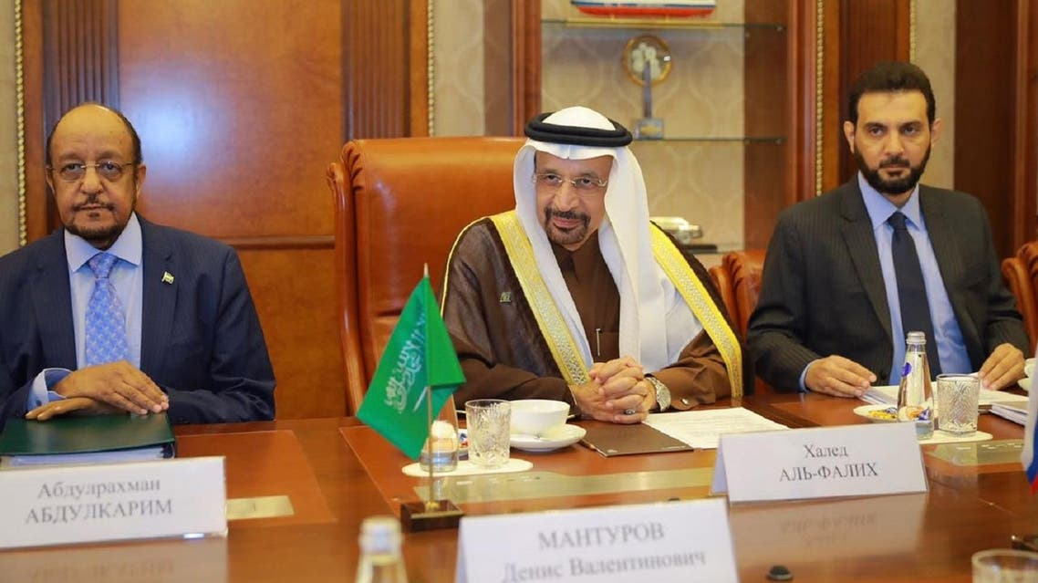 Saudi Energy Minister Khalid al-Falih in talks with his Russian counterpart in Moscow on Thursday October 5, 2017. (SPA)