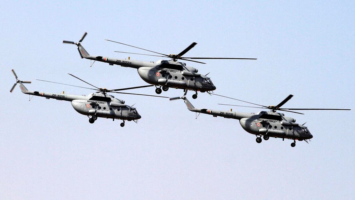 Indian Air Force's Mi- 17 V5 helicopters fly-past during a presentation in Jamnagar, on March 4, 2016. (AP)