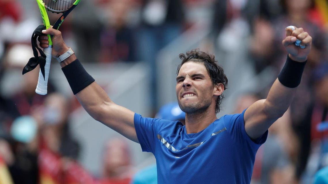 Rafael Nadal of Spain celebrates his win against John Isner of the US, at the  Men's Singles Quarterfinals of  China Open in Beijing on October 6, 2017. (Reuters)